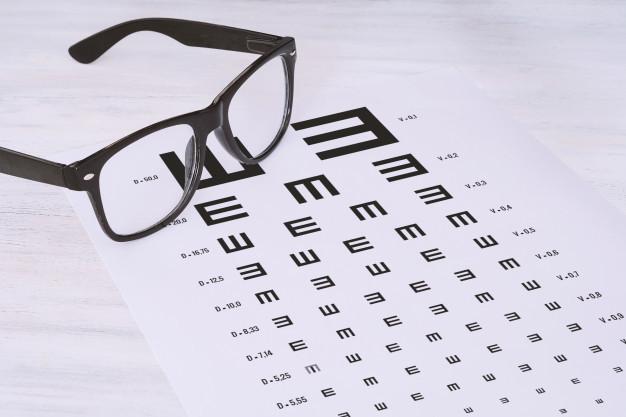 Gambar kacamata dan selembar kertas untuk pemeriksaan astigmatisme pada pasien dengan keluhan mata silinder