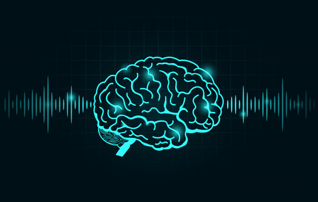 Ilustrasi prosedur stimulasi otak dalam berupa gambar otak dengan backgroung hitam